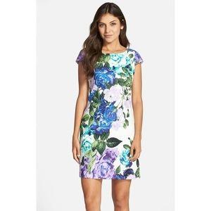 Eliza J Floral Jacquard Cotton Shift Dress size 12